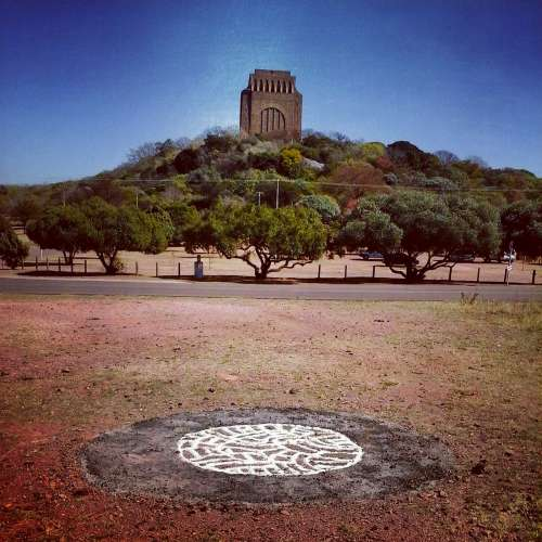 by Erynne Ewart-Phipps as part of the 2014 Site_Specific / Cool Capital Environmental Art Project, a guerrilla land art intervention project conducted in nature spaces throughout the Pretoria / Tshwane area. Site: Schanskop nature reserve at the Voortrekker Monument.
