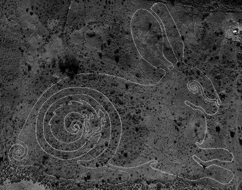 The Site_Specific Collective have completed their second permanent Karoo Geoglyphs project in Loxton - the Riverine Rabbit Thinking Path. Designed & conceptualised by sister and brother team Anni Snyman and PC Janse van Rensburg. Supported by the Loxton community, the Outreach Foundation (Boitumelo Projects), the Endangered Wildlife Trust (Drylands Conservation Programme), Umvoto hydrogeologists, the Grrr Kollective, and Fluid Films. This project was co-ordinated by Loxton resident and Site_Specific Collective member Ingrid Schöfmann. All-in-all 38 people came and went to help complete the project over a span of ten days. Photo credit: Lance Foster of Fluid Films.